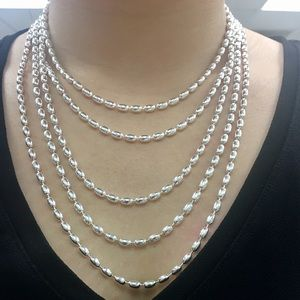 """16"""" 4mm Charleston Rice Bead chain sterling silver"""